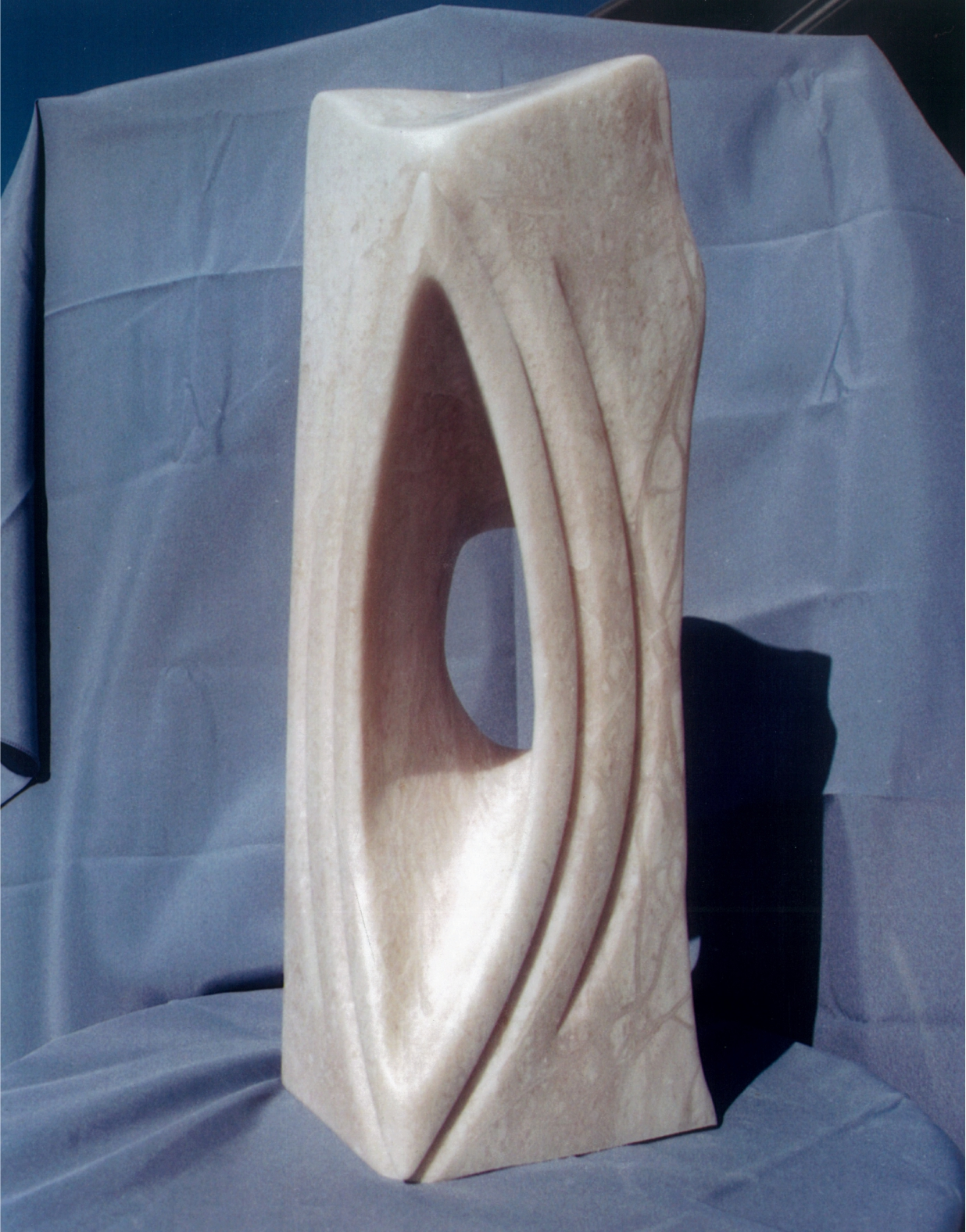 Angel's Eye - 1999 - Carved from Italian White Alabaster. Artist: Steven Zimmerman