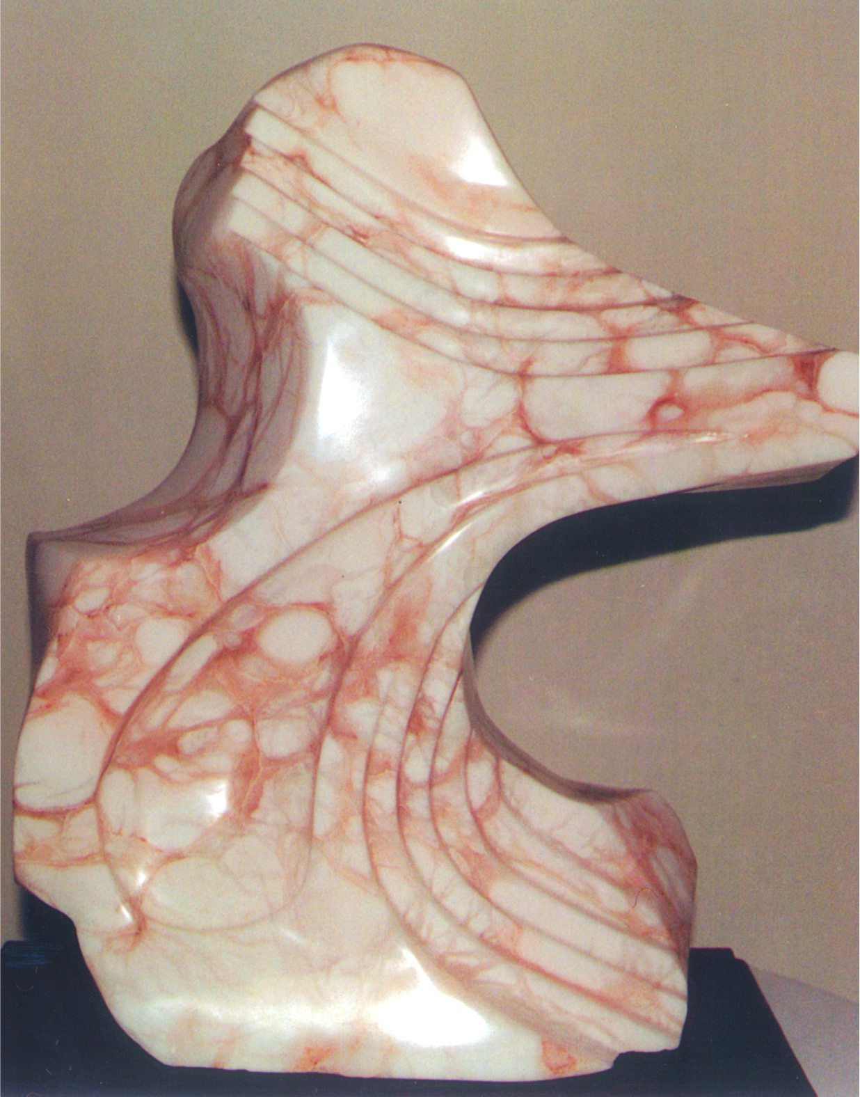 Antiquity's Tear - 1998 - Carved from Coral Alabaster. Artist: Steven Zimmerman