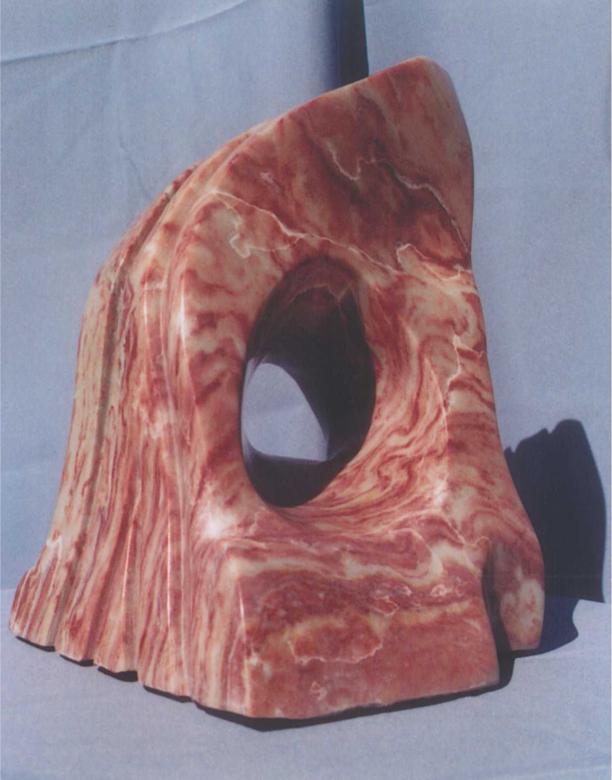 Inferno - 1999 - Carved from Mexican Strawberry Alabaster. Artist: Steven Zimmerman